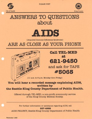 Advertisement for recorded AIDS information provided over a telephone hotline, 1983. [Series 11, Clipping and press release files, Seattle-King County Department of Public Health. Folder 11-6-6.]