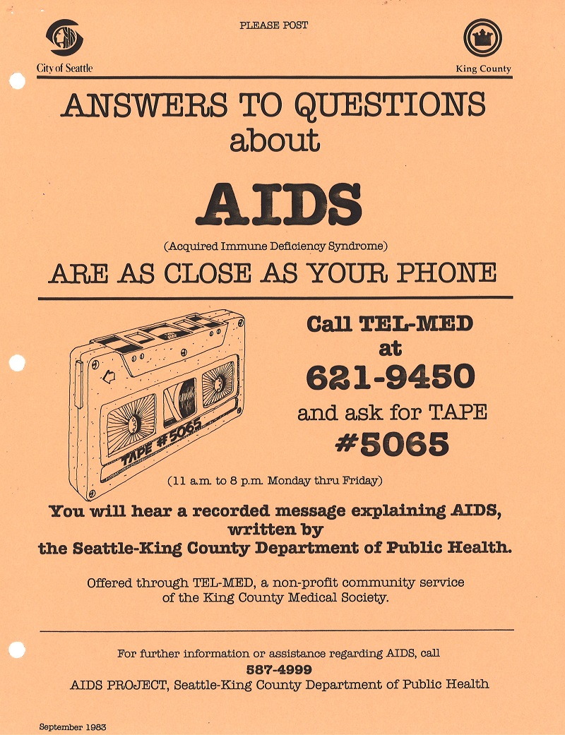 Flyer for Tel-Med recorded AIDS information line