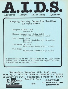 Flyer for community forum on AIDS held on December 1, 1982. Over 300 people attended the event at Seattle Central Community College. [Series 1825 - History files, Seattle-King County Department of Public Health: Prevention Division / HIV-AIDS Program. 1825-1-7.]