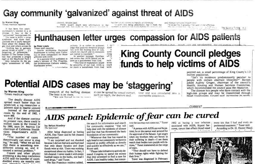 Collage of early AIDS headlines. [Series 1825 - History files, Seattle-King County Department of Public Health: Prevention Division / HIV-AIDS Program. 1825-1-7.]