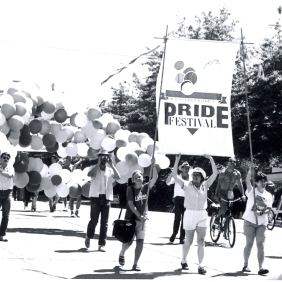 Seattle Pride Festival, 1987. [Series 1825, History files, Seattle-King County Department of Public Health: Prevention Division / HIV-AIDS Program. 1825-10-1.]