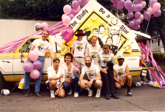 Staff [and volunteers?] with the AIDS Prevention Project float advertising the Be a Star study at Seattle's 1988 Gay Pride Parade. [Series 1825, History files, Seattle-King County Department of Public Health: Prevention Division / HIV-AIDS Program. 1825-10-2.]
