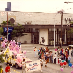 AIDS Prevention Project float advertising the Be a Star study at Seattle's 1988 Gay Pride Parade. [Series 1825, History files, Seattle-King County Department of Public Health: Prevention Division / HIV-AIDS Program. 1825-10-2.]
