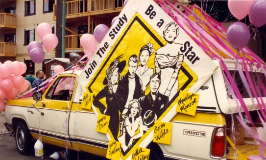 "AIDS Prevention Project float advertising the ""Be a Star"" study at Seattle's 1988 Gay Pride Parade. [Series 1825, History files, Seattle-King County Department of Public Health: Prevention Division / HIV-AIDS Program. 1825-10-2.]"