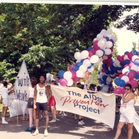 [Staff and volunteers?] with AIDS Prevention Project float advertising the Be a Star study at Seattle's 1989 Gay Pride Parade. [Series 1825, History files, Seattle-King County Department of Public Health: Prevention Division / HIV-AIDS Program. 1825-10-3.]