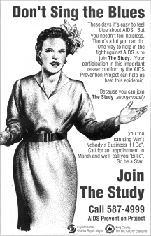 "Poster advertising the ""Be a Star"" study (ca. 1987-). Billie Holiday was one of the ""stars"" assigned to subjects, in a system designed to allow long-term, anonymous participation. [Series 1825, History files, Seattle-King County Department of Public Health: Prevention Division / HIV-AIDS Program. 1825-2-13.]"