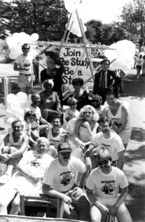 AIDS Prevention Project staff and volunteers with float advertising the Be a Star study at Seattle's 1987 Gay Pride Parade. [Series 1825, History files, Seattle-King County Department of Public Health: Prevention Division / HIV-AIDS Program. 1825-2-13.]