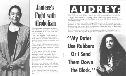 "Inside pages of pamphlet from ""Girlfriends Talking"" campaign by the People of Color Against AIDS Network. [Series 1825, History files, Seattle-King County Department of Public Health: Prevention Division / HIV-AIDS Program. 1825-3-13.]"