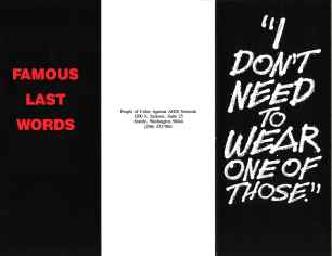 "Poster from ""Famous Last Words"" campaign by the People of Color Against AIDS Network. [Series 1825, History files, Seattle-King County Department of Public Health: Prevention Division / HIV-AIDS Program. 1825-3-16.]"