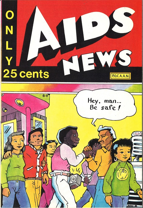 "Cover of ""AIDS News"" comic book, published by the People of Color Against AIDS Network, 1988. [Series 1825, History files, Seattle-King County Department of Public Health: Prevention Division / HIV-AIDS Program. 1825-3-17.]"