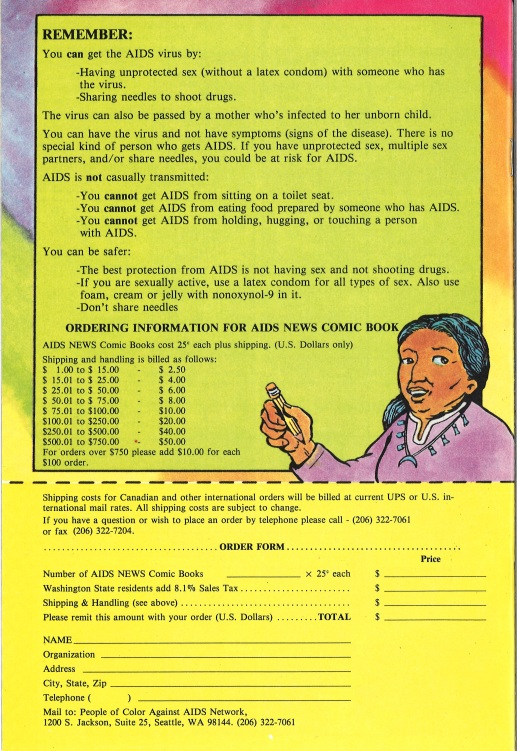 "Back cover of ""AIDS News"" comic book, published by the People of Color Against AIDS Network, 1988. [Series 1825, History files, Seattle-King County Department of Public Health: Prevention Division / HIV-AIDS Program. 1825-3-17.]"