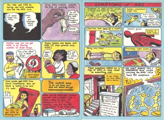 "Pages 4 and 5 of ""AIDS News"" comic book, published by the People of Color Against AIDS Network, 1988. [Series 1825, History files, Seattle-King County Department of Public Health: Prevention Division / HIV-AIDS Program. 1825-3-17.]"