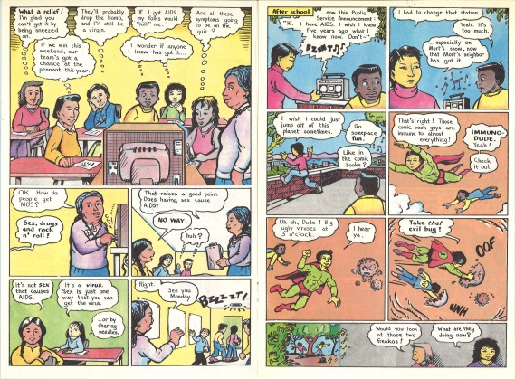 "Pages 6 and 7 of ""AIDS News"" comic book, published by the People of Color Against AIDS Network, 1988. [Series 1825, History files, Seattle-King County Department of Public Health: Prevention Division / HIV-AIDS Program. 1825-3-17.]"