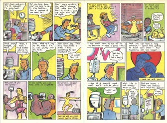 "Pages 12 and 13 of ""AIDS News"" comic book, published by the People of Color Against AIDS Network, 1988. [Series 1825, History files, Seattle-King County Department of Public Health: Prevention Division / HIV-AIDS Program. 1825-3-17.]"
