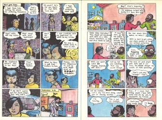 "Pages 14 and 15 of ""AIDS News"" comic book, published by the People of Color Against AIDS Network, 1988. [Series 1825, History files, Seattle-King County Department of Public Health: Prevention Division / HIV-AIDS Program. 1825-3-17.]"