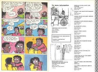 "Page 16 and inside back cover of ""AIDS News"" comic book, published by the People of Color Against AIDS Network, 1988. [Series 1825, History files, Seattle-King County Department of Public Health: Prevention Division / HIV-AIDS Program. 1825-3-17.]"
