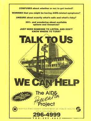 Flyer advertising AIDS Prevention Project at Seneca and Summit location, ca. 1986. [Series 1825 - History files, Seattle-King County Department of Public Health: Prevention Division / HIV-AIDS Program. Folder 1825-3-5.]