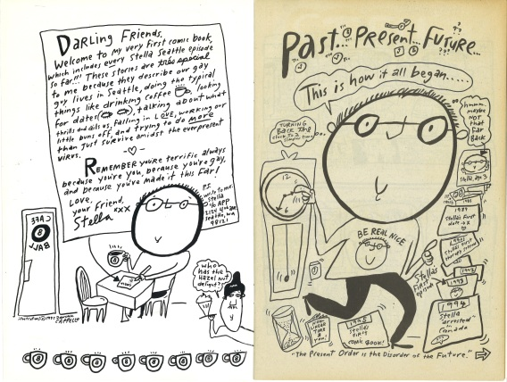 "Inside cover and first page of ""Stella!"" comic, by Dominic Cappello. [Series 1825, History files, Seattle-King County Department of Public Health: Prevention Division / HIV-AIDS Program. 1825-6-10.]"