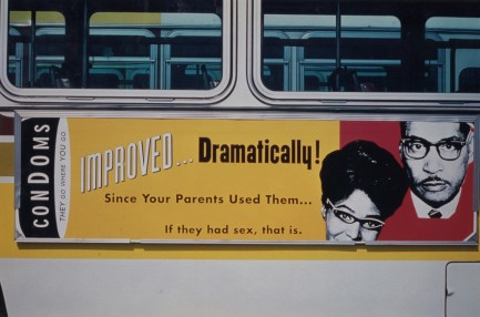 Metro bus sign from Public Health's condom campaign. [Series 1825, History files, Seattle-King County Department of Public Health: Prevention Division / HIV-AIDS Program. 1825-6-20.