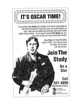 "Poster advertising the ""Be a Star"" study (ca. 1987-). Oscar Wilde was one of the ""stars"" assigned to subjects, in a system designed to allow long-term, anonymous participation. [Series 1825, History files, Seattle-King County Department of Public Health: Prevention Division / HIV-AIDS Program. 1825-2-13.]"