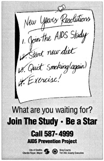 "Poster advertising the ""Be a Star"" study (ca. 1987-). [Series 1825, History files, Seattle-King County Department of Public Health: Prevention Division / HIV-AIDS Program. 1825-2-13.]"